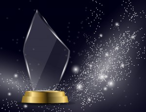 Glass Shining Trophy  Isolated On Sparkling Background. Glass Tr