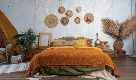 Beautiful Cozy Bedroom With Boho Style Interior, Pillows, Cushio
